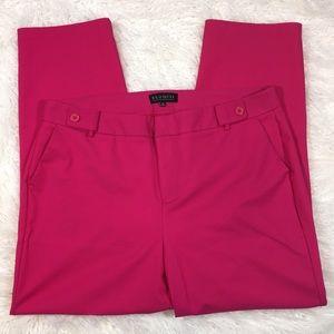 ELOQUII raspberry pink stretch skinny ankle pants